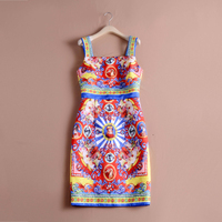 Retro Royal Print Dresses 2018 Fashion Casual Vintage Sleeveless Slim Summer Women New Dress