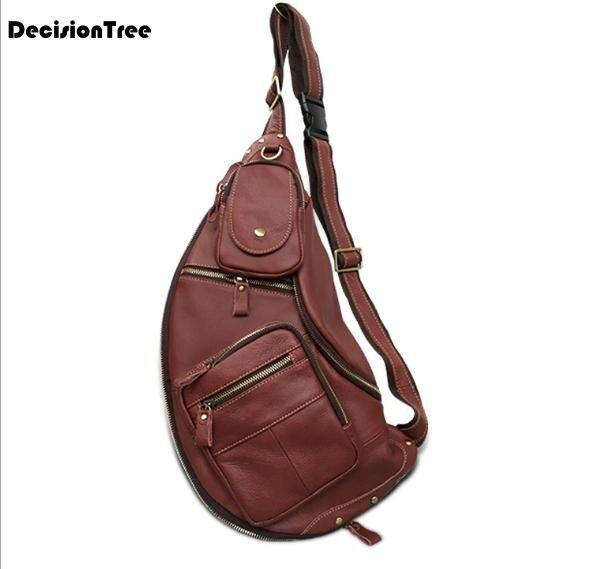 New Elegant Genuine Leather Male Chest Bag Fashion Casual Portable Waist Bag Practical Travel Men Belt Bag C641