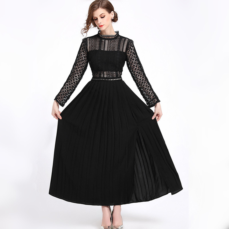 2018 Autumn Women Slim Waist Lace Dress Hollow Out Elastic Waist  A Line Sexy Girl Princess Grace Elegant Ladies Party Dress