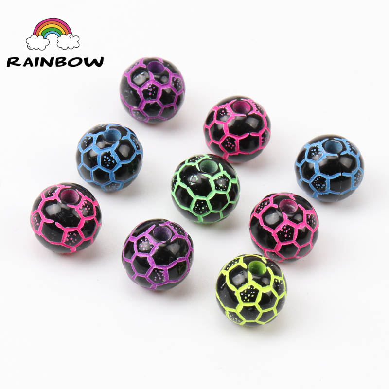 Mixed Black Bottom Neon Stripe Colors Football Pattern Acrylic Round Shape Spacer Loose Beads For Jewelry Making Diy 10mm 50pcs A Plastic Case Is Compartmentalized For Safe Storage Jewelry & Accessories Beads & Jewelry Making