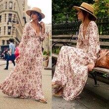 Fashion Summer Long Sleeve V-Neck High Waist Dress Floral Printed Loose Bohe Beach Dresses Vestidos French retro