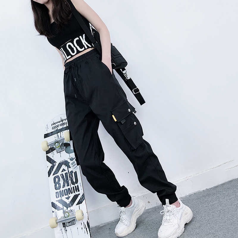 Big Pocket Black Streetwear Cargo Pants Hip Hop Harajuku BF Pants For Women  Joggers Pants Trousers Sport Track Sweatpants Baggy