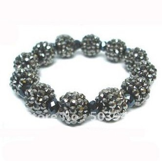 fashion 12mm stretch shamballa hematite rhinestone bracelet