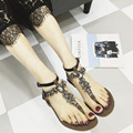 2017 Women Summer Crystal Gladiator Sandals Summer Flip Flops Casual Shoes Woman Slip On Flats Rhinestone Beads T Straps Shoes