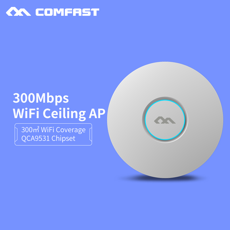 wifi Indoor Ceiling Access Point 300M Router Wireless AP with 48V POE openwrt ddwrt 2*3 dbi antenna wi fi Bridger CF-E320N-v2 ...