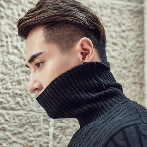 Image 4 - 2020 Fall Winter Thick Warm Cashmere Sweater Men Turtleneck Men Brand Mens Sweaters Slim Fit Pullover Men Knitwear Double collar