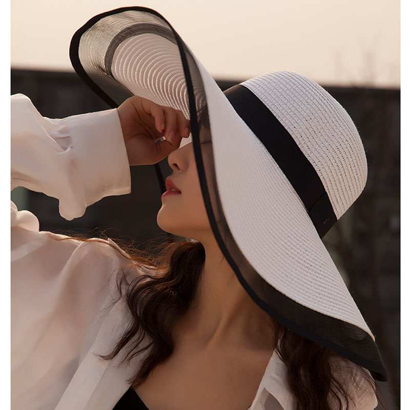 MAXSITI U Female 2019 Summer Hepburn Style Vintage Design Yarn Side Straw Hat Solid Color Beach Holiday Beach Hat Big Sun Hat
