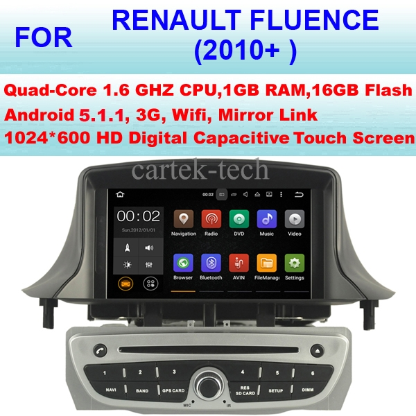 Quad Core Android 5.1.1 Car Radio GPS Multimedia For Renault  Fluence Car DVD Player (2010+  ) Stereo Audio WiFi 3G Mirror Link