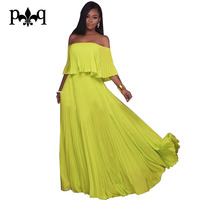 Hilove Women Pleated Chiffon Dresses Summer Casual Loose Boho Long Dress Beach Wear Ruffled Off The