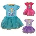 2016 Novo Elsa Anna Vestido Meninas Vestido Cosplay Vestidos de Festa Da Princesa Crianças Vestidos Vestidos Menina Roupa Do Bebê da criança Do Bebê Do Miúdo