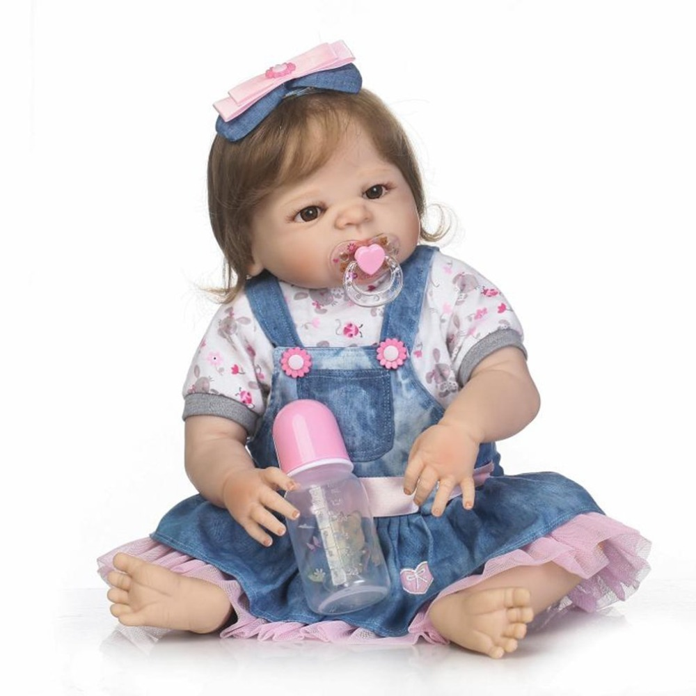 купить 56cm Baby Reborn Doll Soft Silicone Vinyl Cute Bebe Doll & Bottle Lifelike Handmade Realistic Toys for Girls Playmate Best Gifts по цене 5731.51 рублей