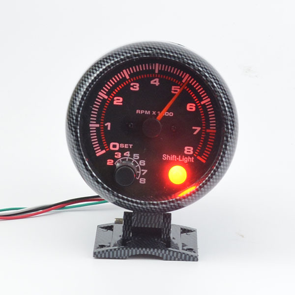 3.75 inch rpm racing tachometer red backlight modified car instrument warning function carbon afraid Auto gauge