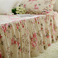 Hot Garden sweet rose print bedspread wrinkle handmade bed cover thicken brushed fabric coverlet bedroom bed spread bed covers