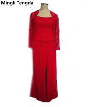 Mingli Tengda Red Black Chiffon Three Pieces Mother of the Bride Pant Suits Beaded Mother of