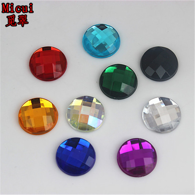 Micui 100pcs 14mm Rhinestone Flatback Acrylic Round Strass Crystal and Stone  For Clothes Crafts Decorations ZZ102 a99946a23a32