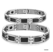 Lovers Stainless Steel Link Chain Bracelets Classical Women Men Health Care Jewelry with Magnet Stone Energy