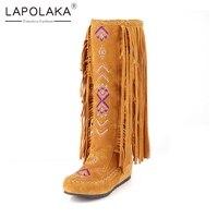 Lapolaka 2019 Autumn Winter 34 48 Hot Sale Bohemia Fringe Knee High Boots Women Fashion Embroider Casual Women Shoes Woman
