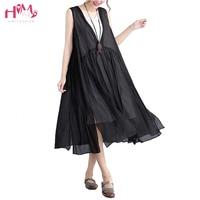Big Size Women Dress Causal Fake Two Pieces Linen Cotton Vest Dress Black White Asian Style Plus Women