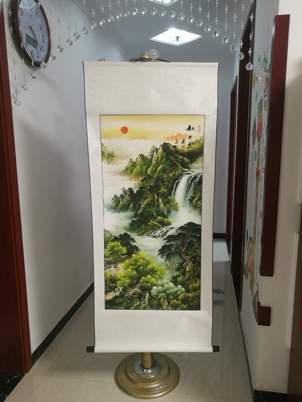 140CM Large 2020 TOP business gift # Home office WALL Decorative art The red sun rose Auspicious landscape FENG SHUI painting