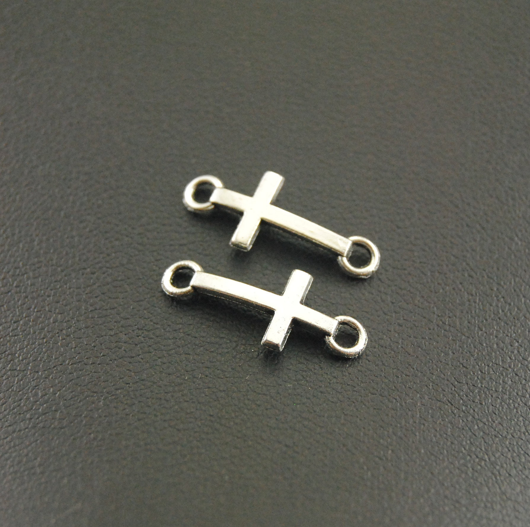 50 pcs 8x20mm Cross charms Antique Silver Sideways Mini Cross CharmPendant diy Bracelet A1165