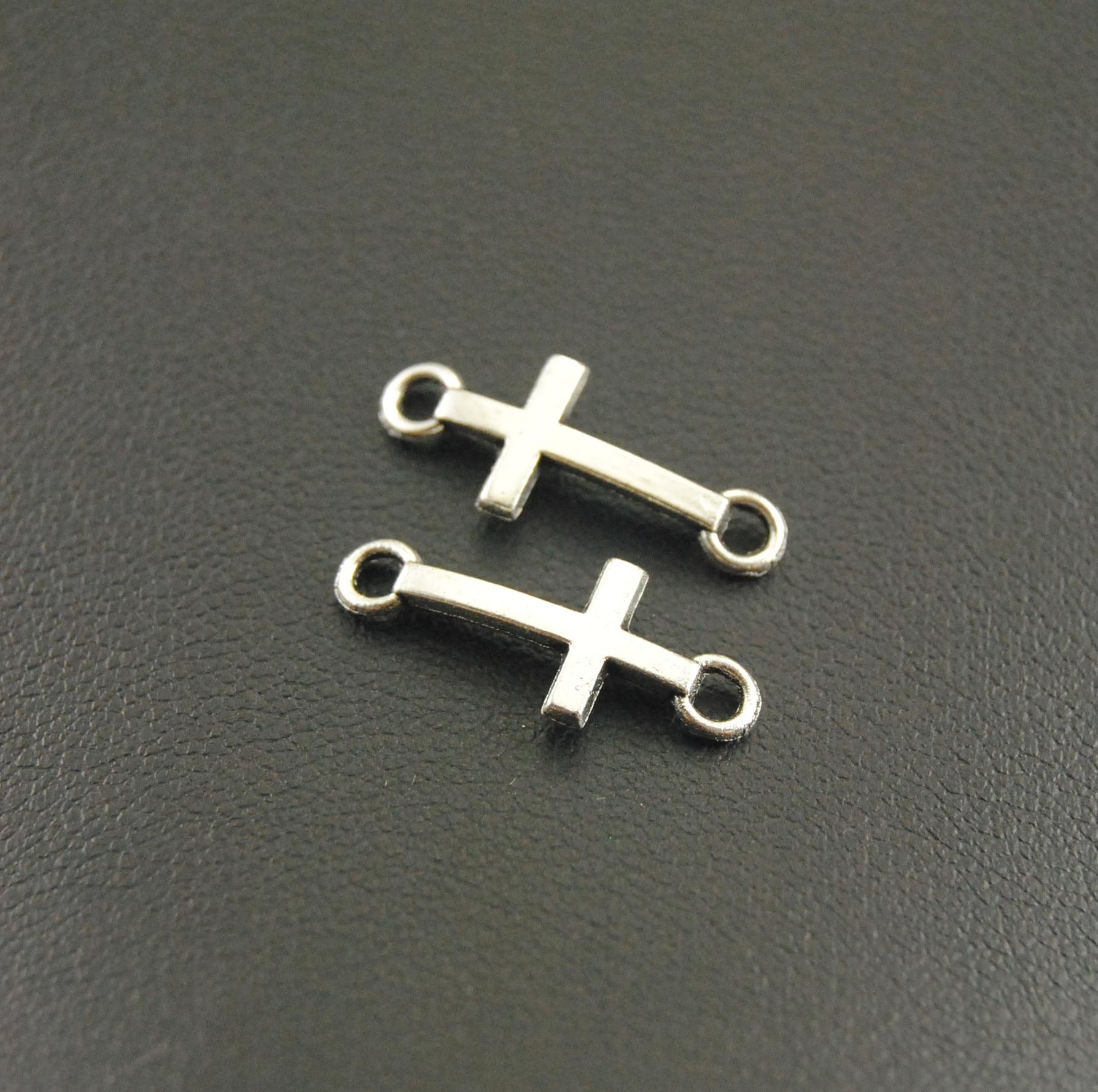 50 Pcs 8x20mm Cross Charms Antique Silver Sideways Mini Cross Charm/Pendant Diy Bracelet A1165