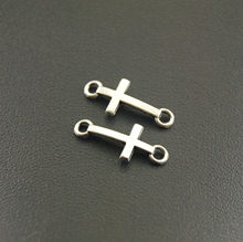 50 pçs 8x20mm cruz encantos prata cor lateral mini cruz charme/pingente diy pulseira a1165