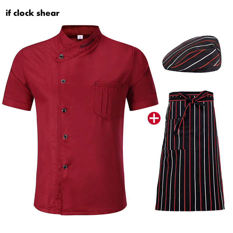 IF New Short Sleeve Kitchen Workwear Chef Restaurant Uniform Catering Clothes Unisex Jacket +Hat +Apron Wholesale Shirt Men Chef