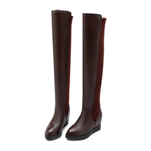Size 34-43 2016 new fashion women boots female spring/autumn women's knee boots vintage slip-on flat heel motorcycle boots