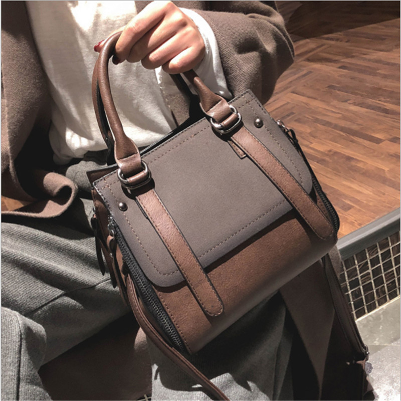 European style Fashion New Shoulder bag 2018 High quality Matte PU Leather Portable Women Handbags Ladies Hit color Big Tote bag