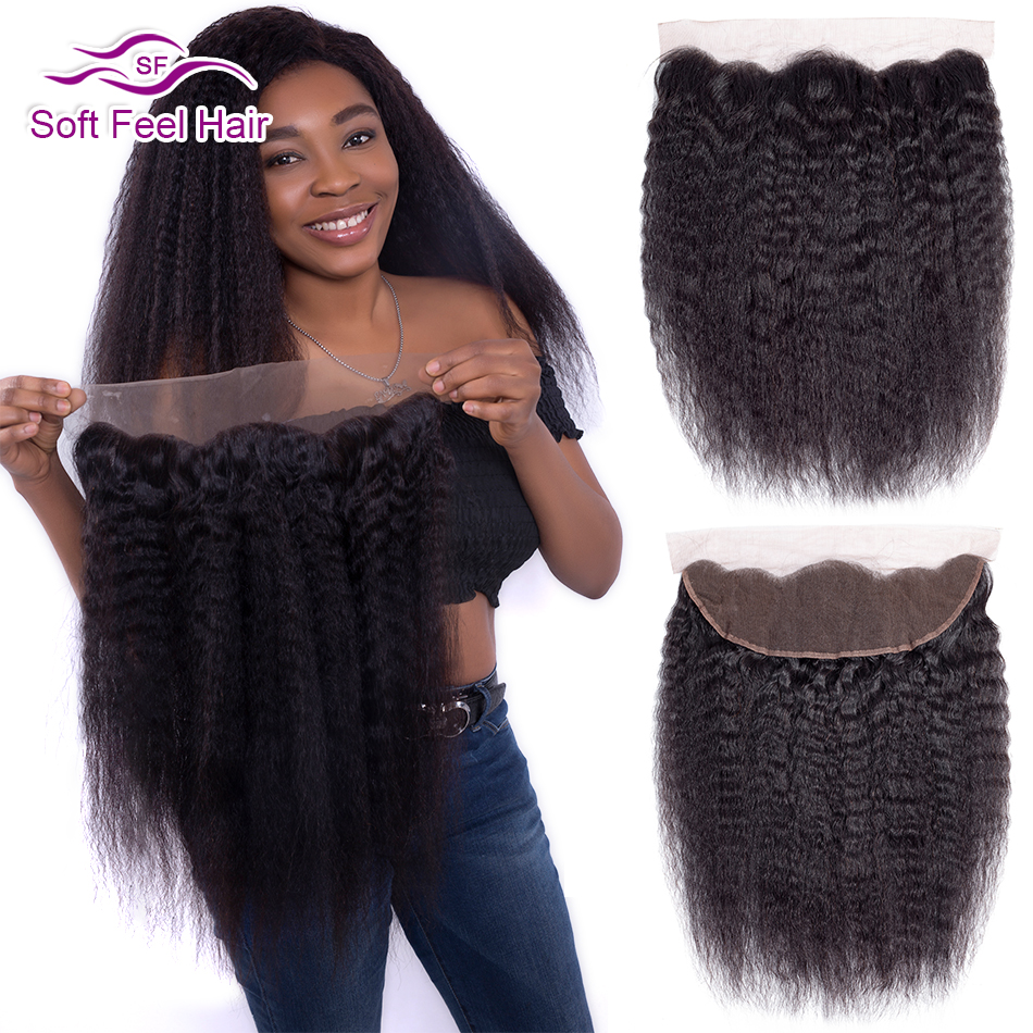Soft Feel Hair Brazilian Kinky Straight Frontal 13x4 Ear To Ear Lace Frontal Closure Remy Human Hair Lace Frontal With Baby Hair-in Closures from Hair Extensions & Wigs