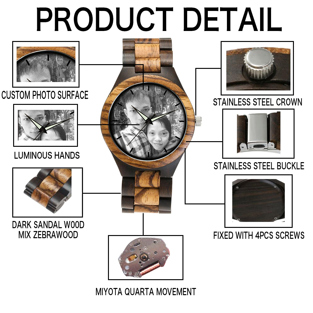 zebra wooden band watch detail male clock 5