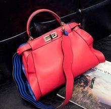 Super cute lotus leaf double buckle handbag, hit color 2 wide shoulder strap diagonal shoulder bag,lady girls woman new bag
