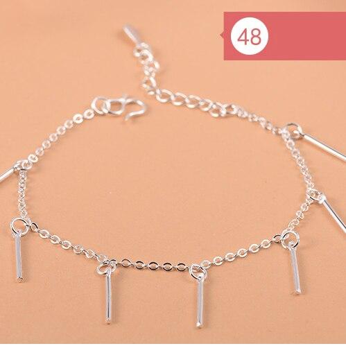 925 Sterling Silver Flower Star Charm Bracelet For Women Girls Luxury Brand Heart Cute Anklet Jewelry Pulseras Mujer 1