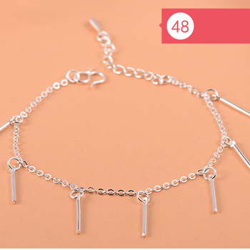 925 Sterling Silver Flower Star Charm Bracelet For Women Girls Luxury Brand Heart Cute Anklet Jewelry Pulseras Mujer 1
