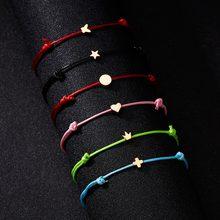 Faça um desejo coroa de cinco estrelas coração cruz tecido cartão de papel pulseira ajustável lucky red string pulseiras femme jóias