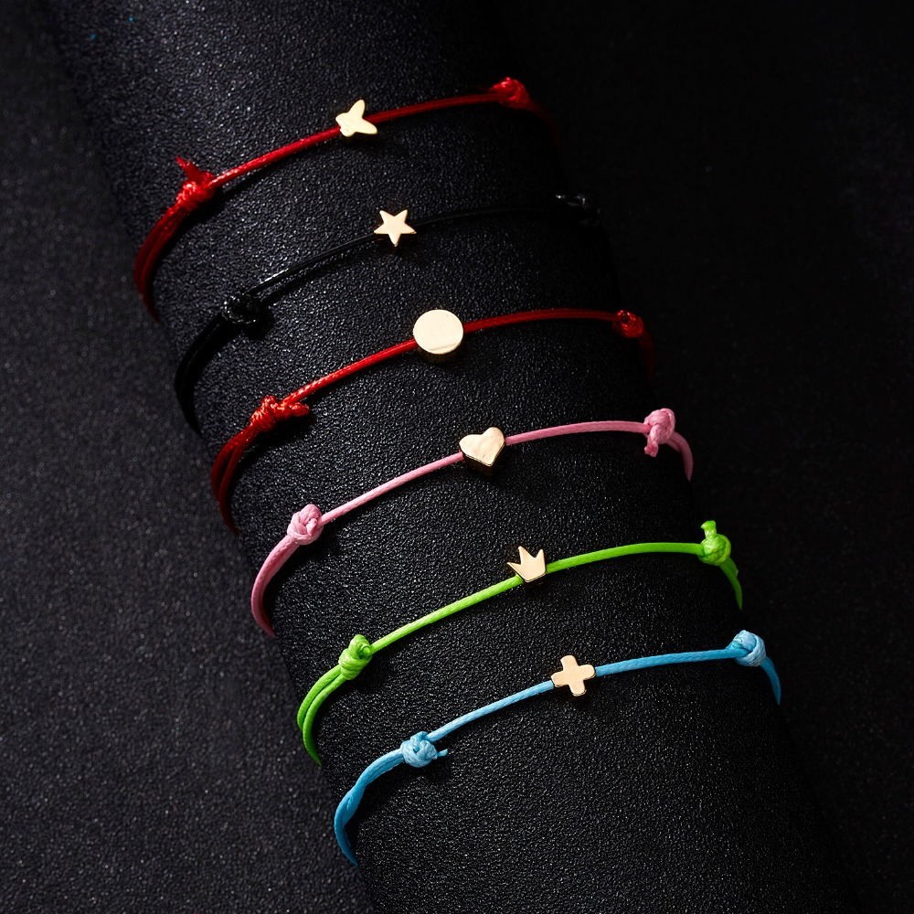 Rinhoo Fashion Woven Adjustable Bracelet With Card Infinity Love Gold Crown Star Charm Bracelet for Girls Jewelry Drop Shipping in Charm Bracelets from Jewelry Accessories