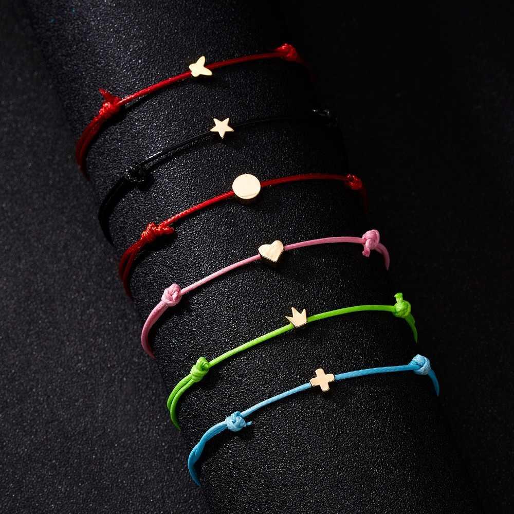 Rinhoo moda tkane regulowana bransoletka z kartą nieskończoność miłość złota korona gwiazda urok bransoletka dla biżuteria dziewczęca Drop Shipping