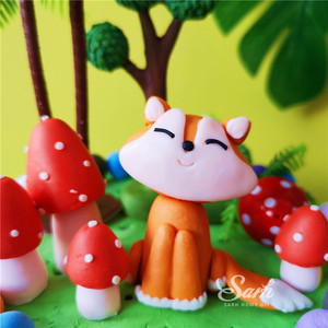 Image 4 - Ins Mushrooms Sitting Fox Cake Toppers Boy Girl Birthday Dessert Decoration for Childrens Day Party Suplies Lovely Gifts