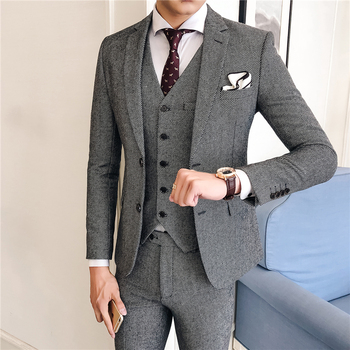 2019 new Men's Suit 3 Piece Set S-XXXL Wool and Polyester Twill Men Grey Jacket with Vest and Pants High Quality