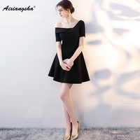 Glamorous Simple Black Prom Dresses Knee Length A Line Customized Chiffon Short Sleeves New arrival Popular In Stock Hot Sale