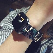 Nueva Moda Super Suave Correa para Apple iWatch Manzana Moda Camuflaje de Silicona Venda de Reloj para la Manzana Banda Reemplazo Oficial