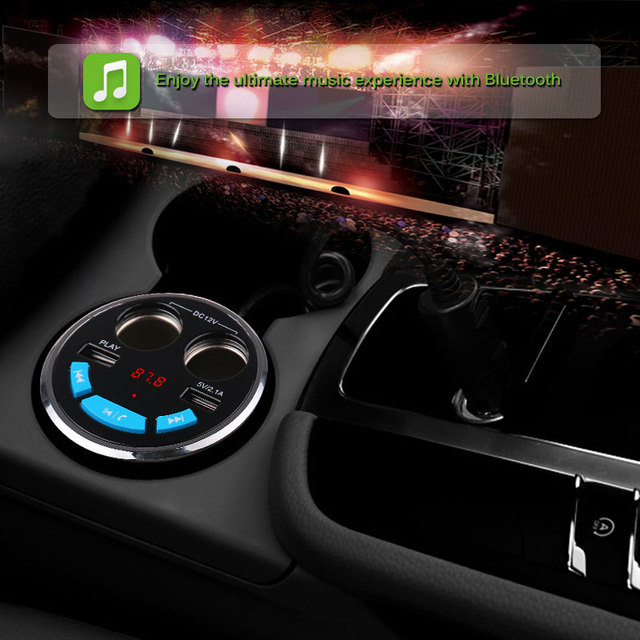 Onever Car Bluetooth FM Transmitter Music MP3 Player Hands Free Car Kit Cup Holder Cigarette Lighter 2 USB Car Charger Adapter
