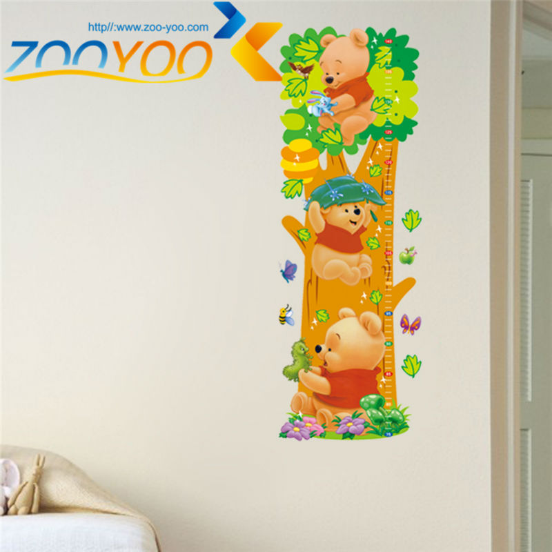 winnie the pooh bear growth chart wall stickers for kids room home