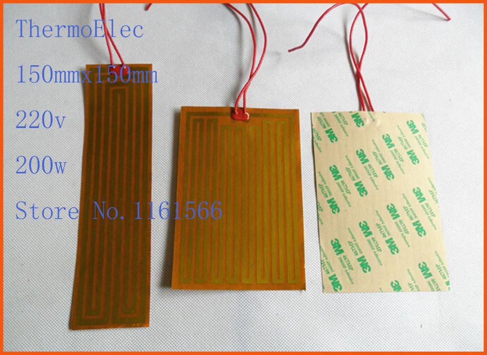 150mmx150mm 220v 200w element heating PI film polyimide heater heat rubber electric flexible heated bad heating pad Industrial
