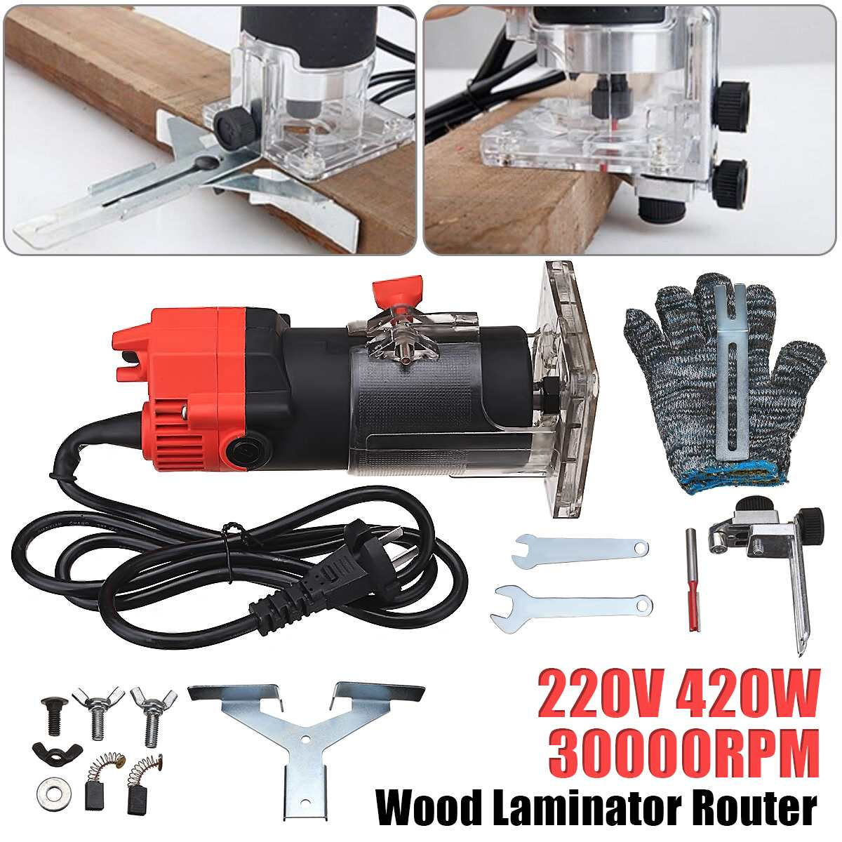 New 220V 420W 30000RPM Electric Edge Trimmer Multi Function Woodworking Machine Wood Edge Cutter/Router Set + Wrench GlovesNew 220V 420W 30000RPM Electric Edge Trimmer Multi Function Woodworking Machine Wood Edge Cutter/Router Set + Wrench Gloves
