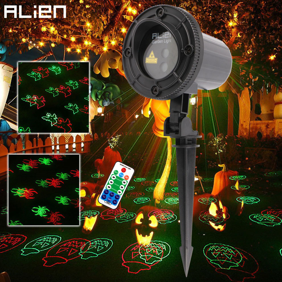 alien remote rg 12 patterns halloween outdoor laser projector christmas party garden home waterproof pumpkin laser - Halloween Outdoor Lights