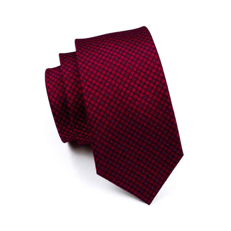 LS-704 erkek kravat % 100% İpek kırmızı ekose jakarlı dokuma düğün kravat Barry.Wang Hanky kol düğmeleri seti boyun kravat erkekler için iş parti
