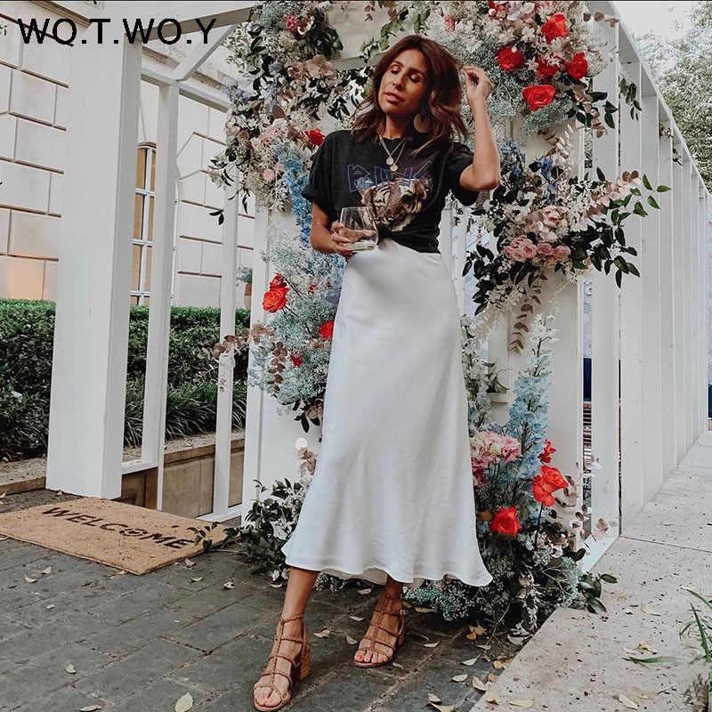 WOTWOY 2019 Горячие трендовые атласные юбки женские с высокой талией на молнии тонкие свободные трапециевидные юбки женские розовые синие уличная юбка