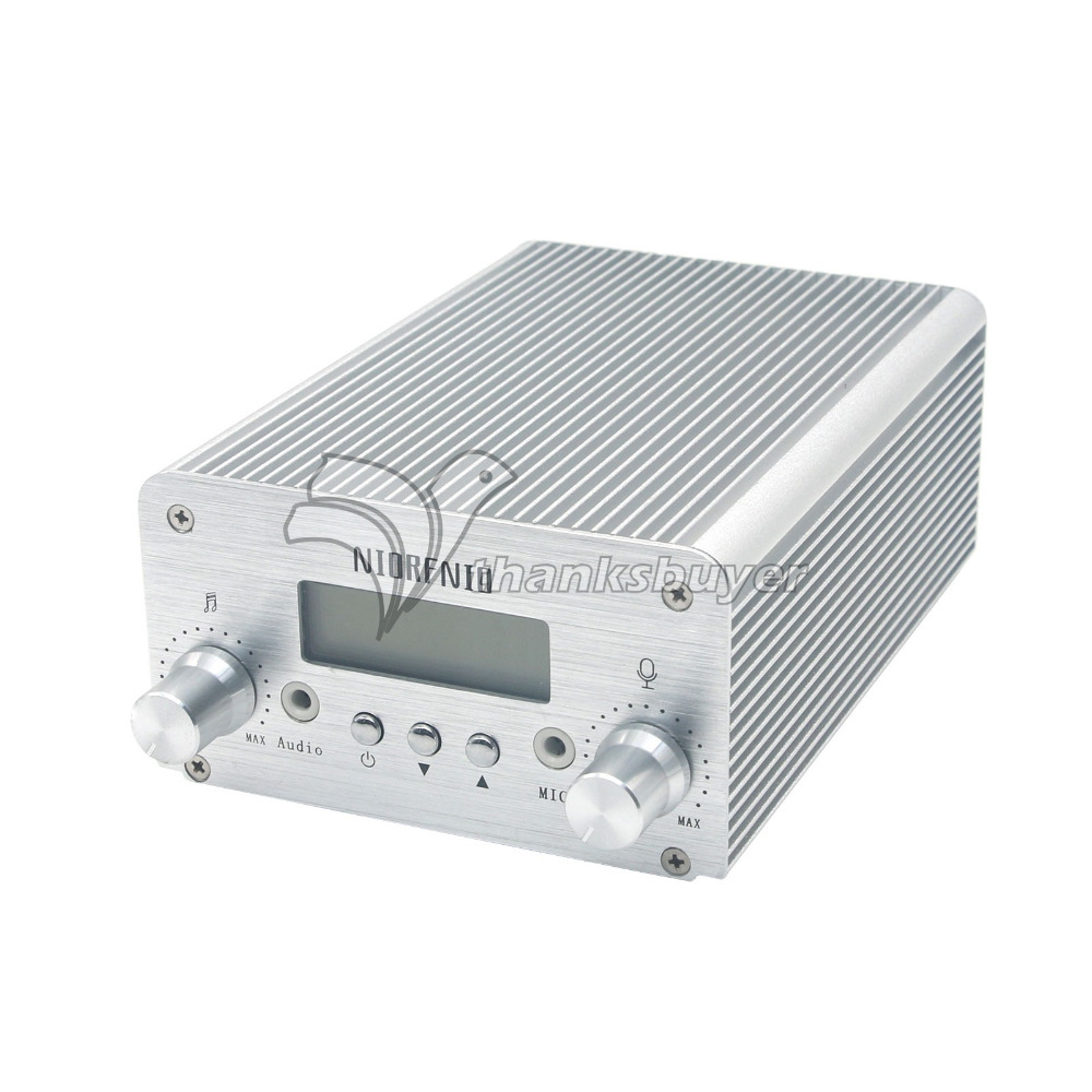 T6B 1W 6W Audio Wireless Bluetooth FM Transmitter Broadcast Radio Station 76-108Mhz + Power Supply for Car-Silver/Gold fmt 30l 30w fm transmitter 0 30w power adjustable radio broadcaster