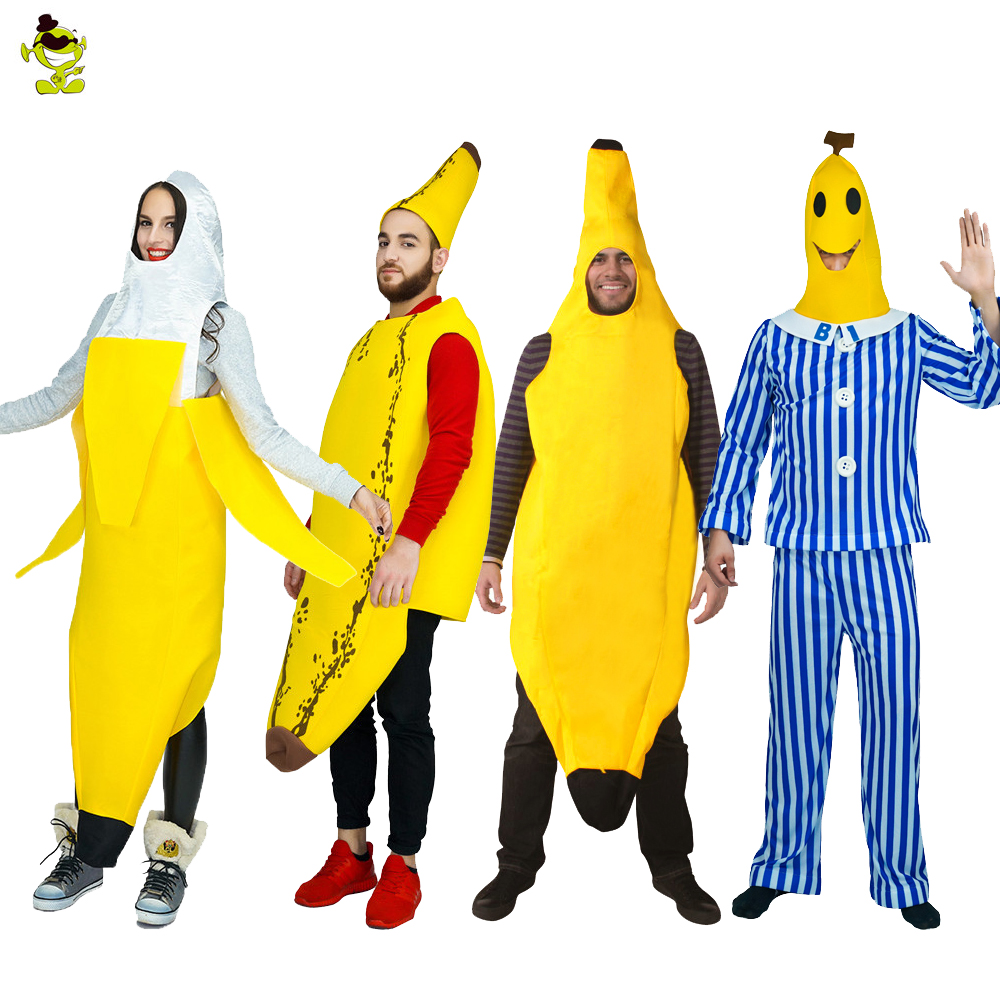 Men Cosplay Adult Kids Fancy Dress Funny Banana Costume Novelty Halloween Christmas Carnival Party Decorations Food Costumes
